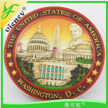 USA Round Resin Magnet ,Souvenir Resin Magnet