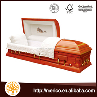 Cheap Burial Wooden Casket With Casket Interior Decoration