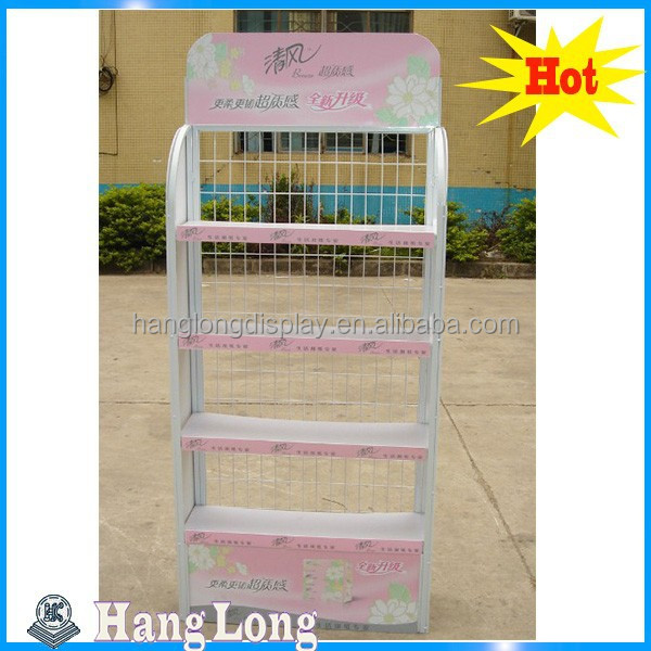 customized metal wire food display shelf, floor sock display stand