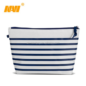 canvas stripe cosmetic makeup bag with zipper