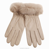 lady fashion skin colour leather fur gloves