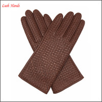 ladies fashion brown weaving genuine leather gloves