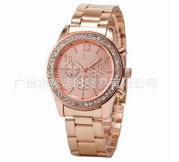 golden Fashion 5 colors Women Watch Men gold Full Steel Analog Quartz Ladies Rhinestone Wrist watches