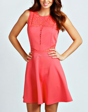 CHEFON Lace insert skater style coral summer dress