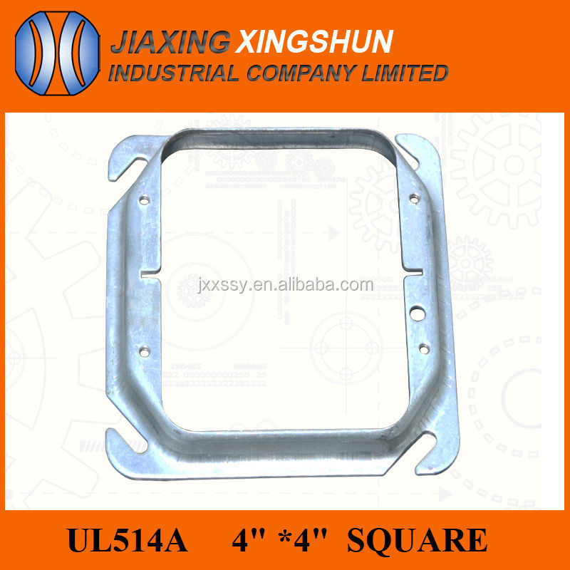 "2014 HOT 4""square knockout steel metal junction box cover/raised device cover for 2gang-1/4"""