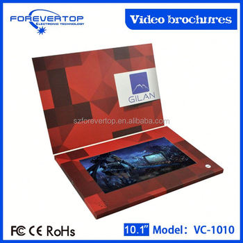 Factory lowest price 10 inch video brochure for product presentation