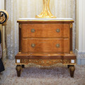 French Antique Bedroom Furniture Wooden Carved Nightstand/ Vintage Brown Bedside Table With Golden Carving