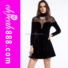 2016 Hot sale latest design skater velvet dress winter