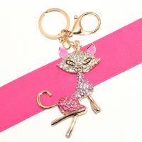 Cat Lady Crystal Rhinestone HandBag Pendant Keyring Keychain Charm For Car Key Chain for Women Jewelry