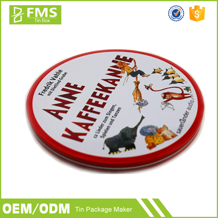 Custom Printed Metal Tin Packaging Box For Cd Dvd Storage, Wholesale Cheap Flat Round Tin Cd Dvd Case
