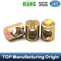 Special Slotted Cylinder Shape Furniture Cap Nuts Furniture Fitting Insert Nuts Hollow Bolts and Nuts