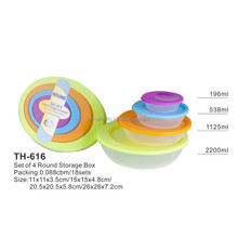 fit for promotion 4 pcs colorfly plastic food container(th616)