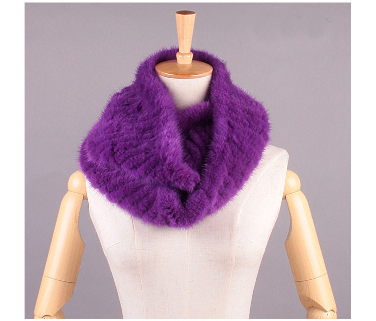 Long Knit White Real Mink Fur Scarf Scarves Custom