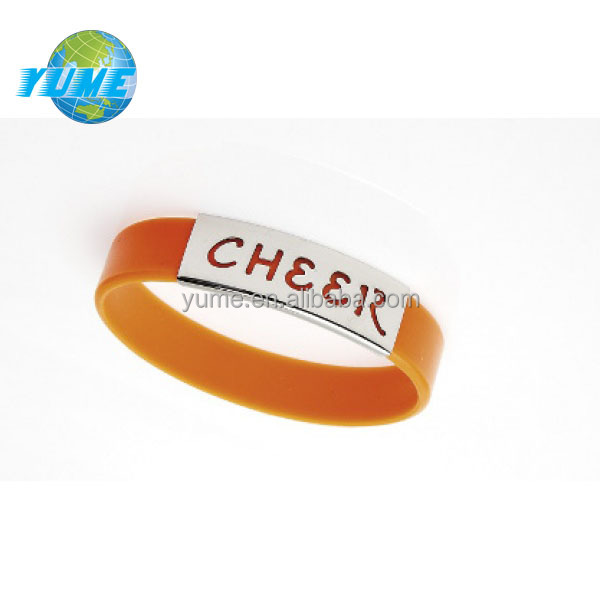 Europe Style Metal Clip Custom Cheap Silicone Cheer Bracelet in Orange from China Suppliers - Hot in USA
