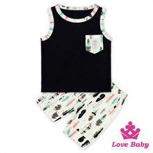 Vest & Shorts 2 Pcs Clothes Set Feather Print Sleeveless Outfit Newborn Kids Baby Girls Clothing Wholesale