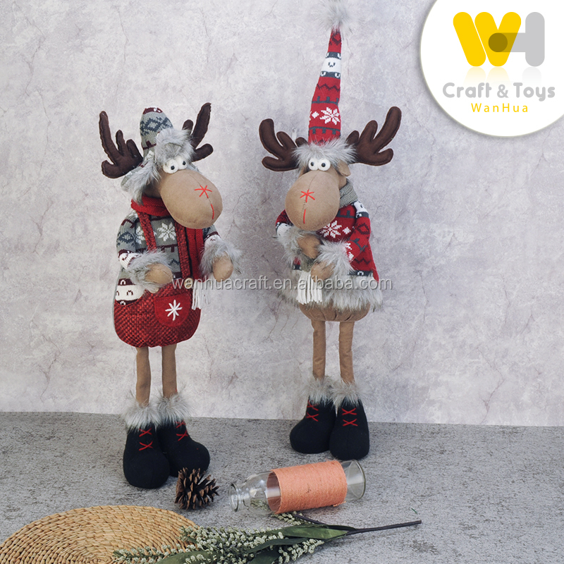 traditional stuffed Christmas standing reindeer doll for holiday home decoration