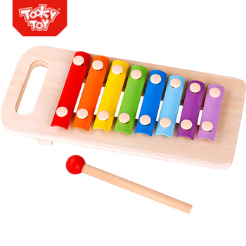 Wooden String Pull Along Toy Set Elephant with Pound Xylophone Musical Toy and Blocks
