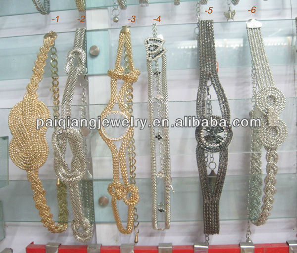 Fashion Metal chain belts with rhinestone bow/heart/flower shaped Buckle