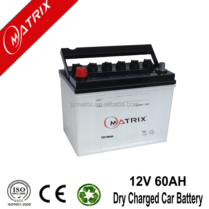 Matrix 12v 60ah mf car battery 6-qw-60 JIS: Jananese Standard