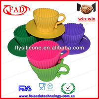 8pack Tea Cup Silicone Cupcake Mould,Unique Baking Cup For Caking Decorating