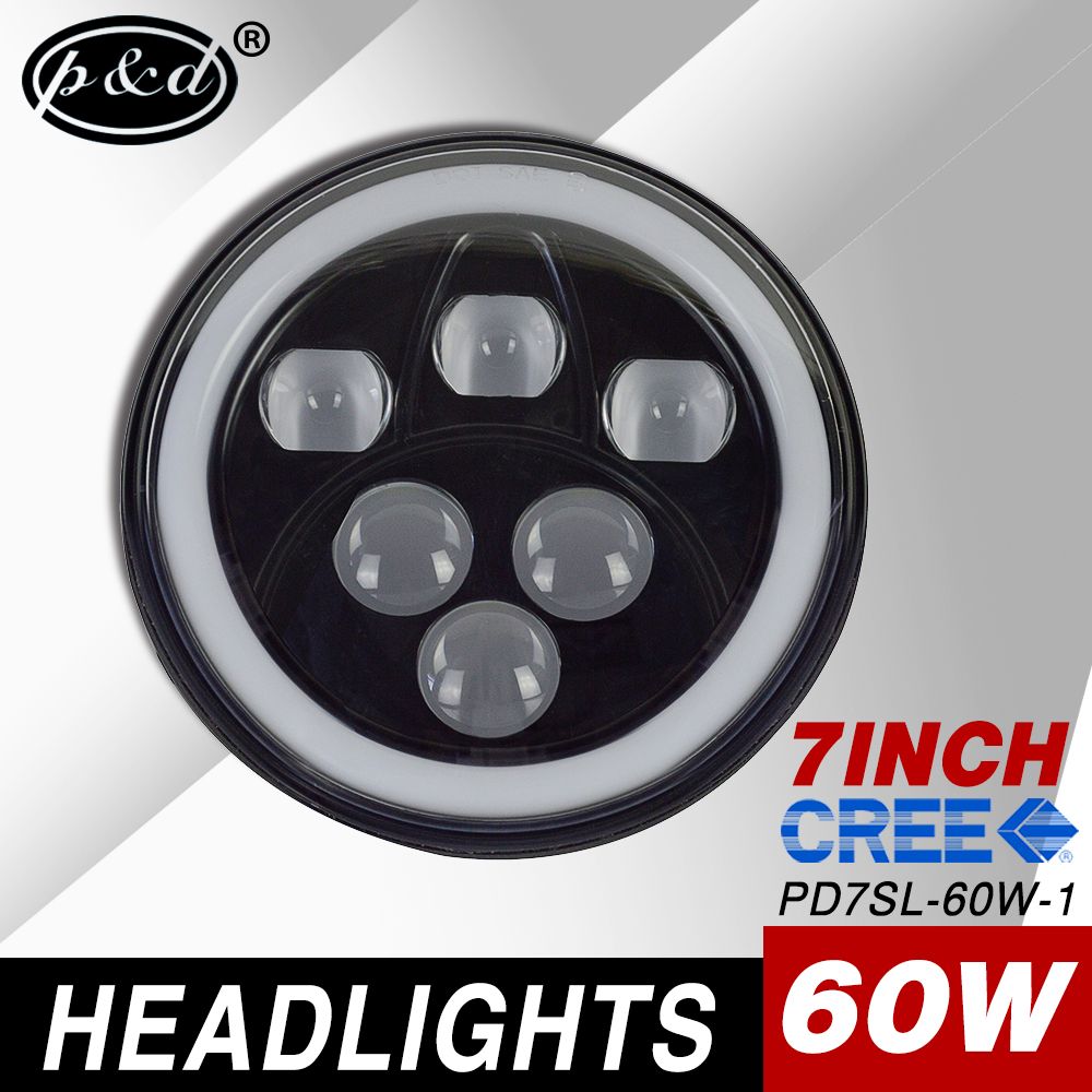 "7"" round halo 60w led headlights with daytime running lights for jeep wrangler"