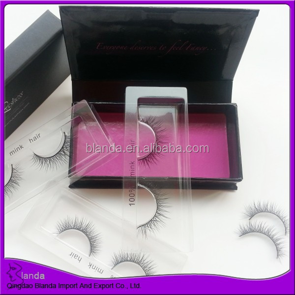 Natural black color false eyelash 100% mink hair eyelash