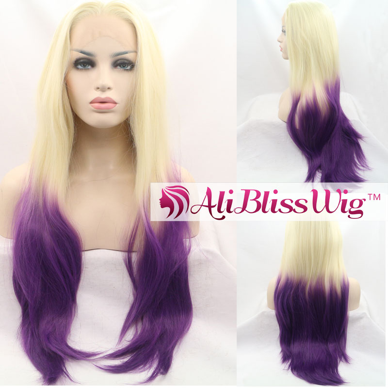 "Cheap 22"" Long Natural Straight Heat Resistant Fiber Two Tone Color Ombre Blonde Purple Synthetic Lace Front Wig for White Women"