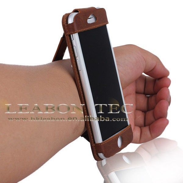 High quality leather cell phone case with hand strap for iphone6