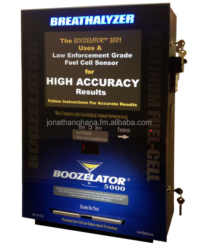 Boozelator 5000 - Fuel Cell Alcohol Breath Tester - Breathalyzer Vending Machine - Coin, Bill, Credit Card