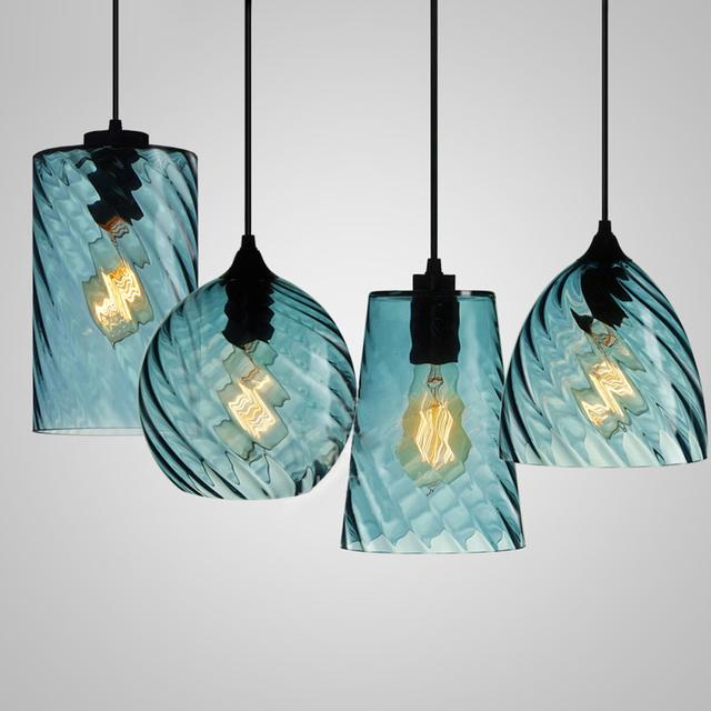 Modern Handmade Blue Screw Thread Glass Hanging Lamp Chandelier Pendant Lights Dining Room Lighting Fixture
