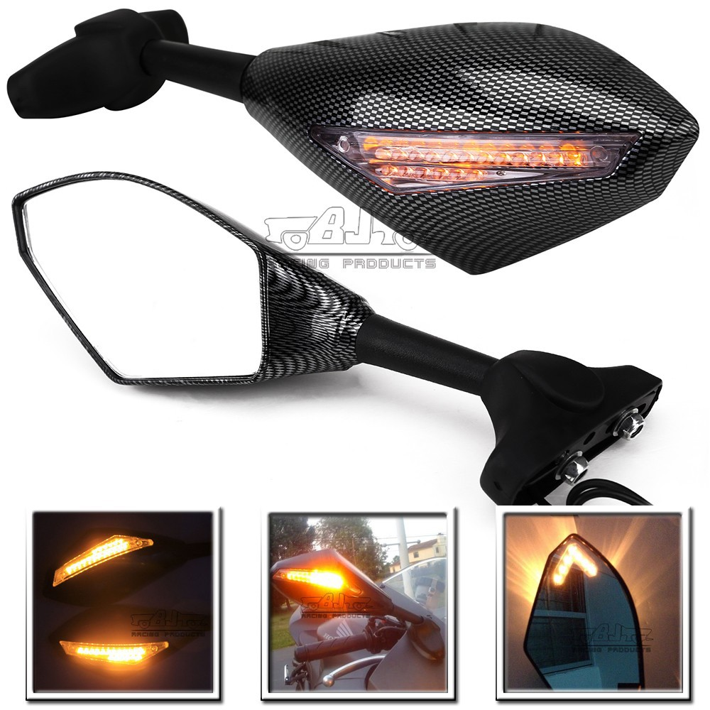 BJ-RM-016A arrow style LED signal light integrated motorcycle rearview mirror
