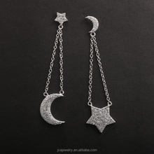 925 Sterling Silver Moon Star Earrings Jewelry With Pave CZ