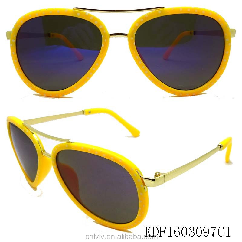 FJ brand wholesale sun glasses promotional yellow frame sunglasses 2017