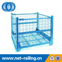 Heavy duty steel collapsible stackable fold steel pallet crate