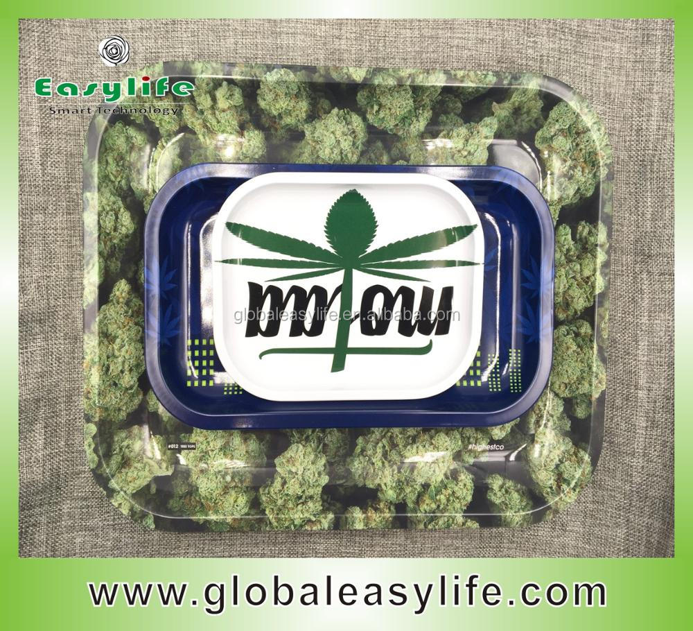 Customized Green Herbs Large Tin Rolling Tray