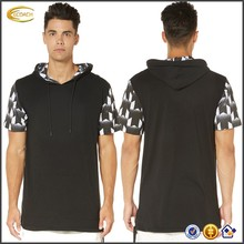 men's clothing wholesale black Hooded men fashion t shirt