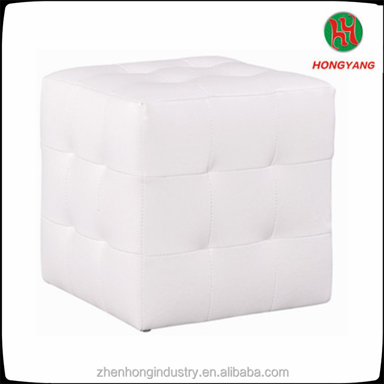 Square White Leather Cube Dice Stool Storage Ottoman Chair