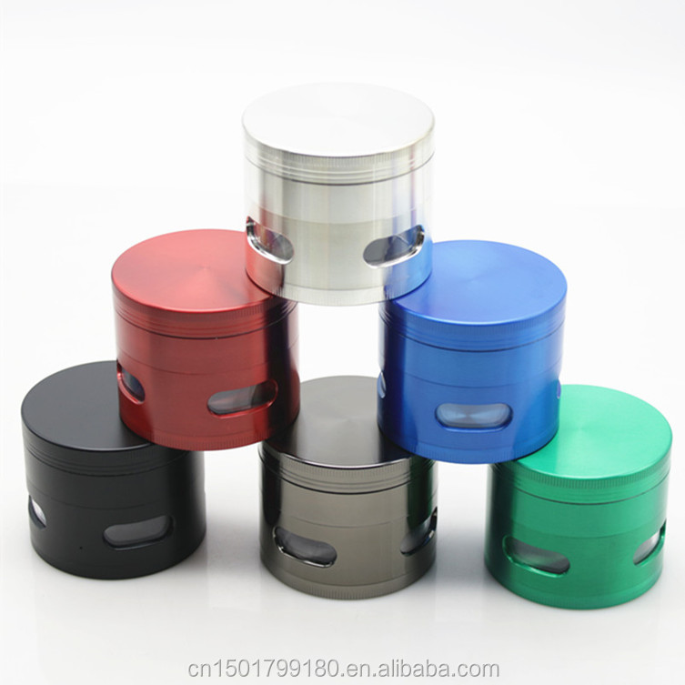 4 Parts Transparent Windows On Side Metal Zinc Alloy Herb Grinder 63MM 6 Colors Smoking Crusher EKJ GR011