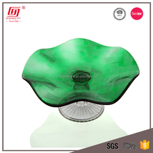 2017 hot new products fancy lotus leaf shaped green glass fruit plate
