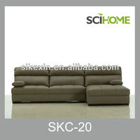 Modern L-Shaped Sectional Genuine Leather Sofa