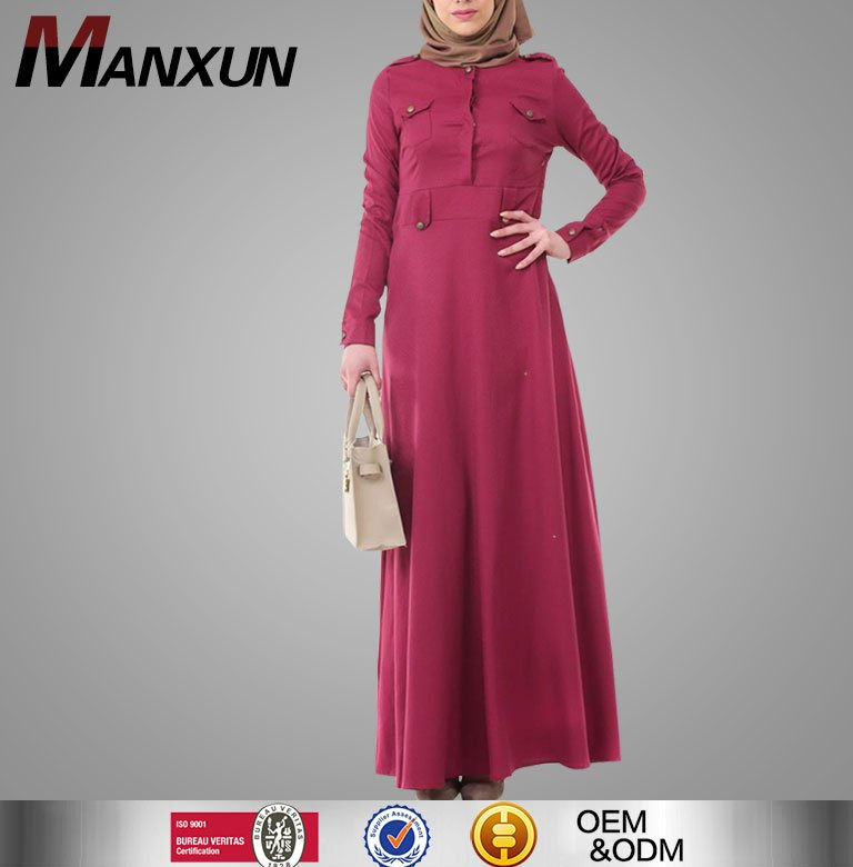 Fashion Islamic Clothing Abaya Wine Red Dress Designer Abaya Kaftan Wholesale For Ladies 2016