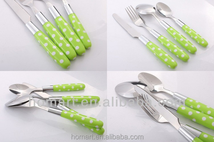 24pcsPlastic Handle Flatware Plastic Metalic Cutlery Plastic Handle Spoon