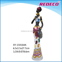 Resin colorful african black woman figurine