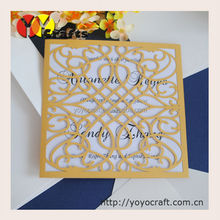 Elegant Gold luxurious banquet invitation card Chinese traditional handmade folk art wedding invitation card