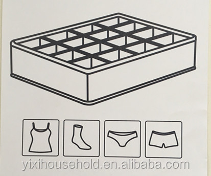 high quality 16 compartiments Non Woven sock and underwear storage box home drawer organizer