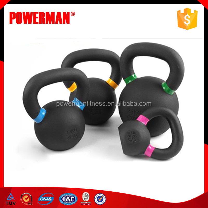 Powerman Fitness Cast Iron Coated Kettlebell with Color Ring