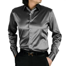 Wholesale men long sleeve imitation silk fabric Business shirt