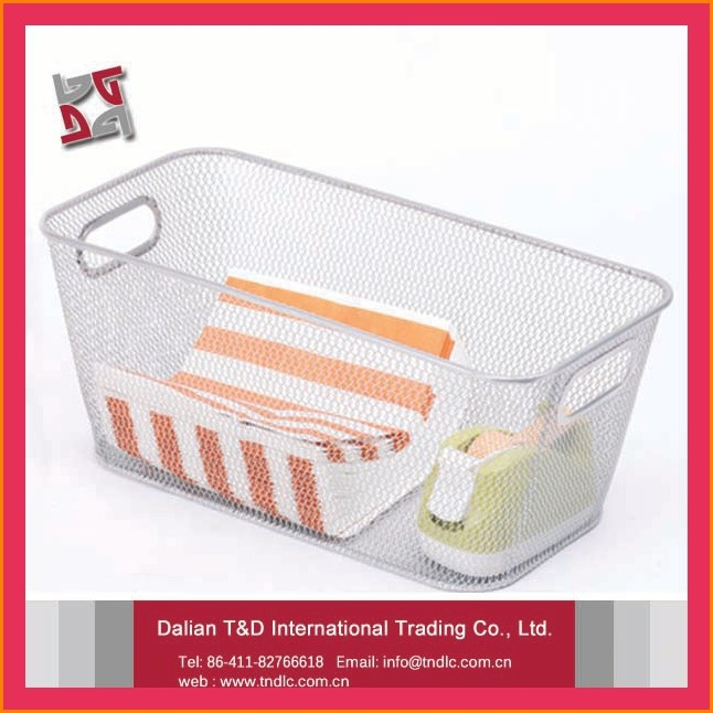 factory wholesale price office and home usage iron metal mesh organizer storage box