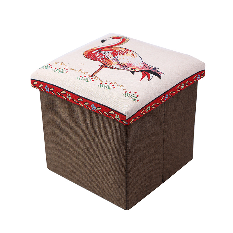 2019 Hot Selling Folk Custom Adorable  Printed  Animals Storage Ottoman Stool