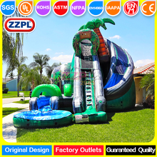 ZZPL Giant inflatable coconut tree water slide Super fun inflatable water slide with pool